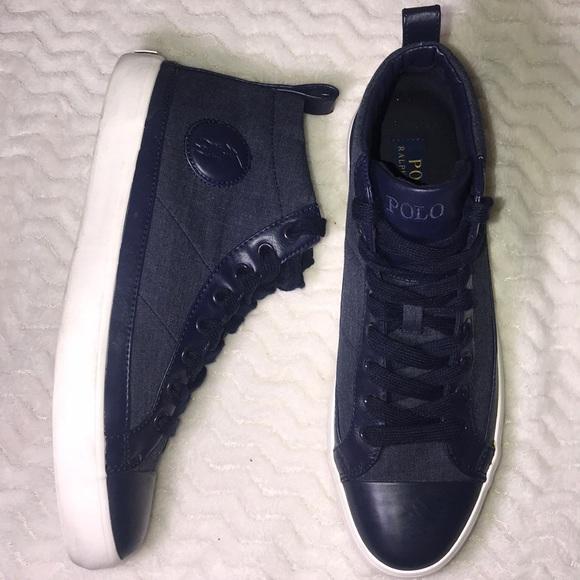 4e4bdb27fd615 Polo Ralph Lauren Clarke Mens Blue High Top Shoes